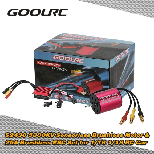 Buy Original GoolRC S2430 5800KV Sensorless Brushless Motor 25A ESC Combo Set 1/16 1/18 RC Car Truck