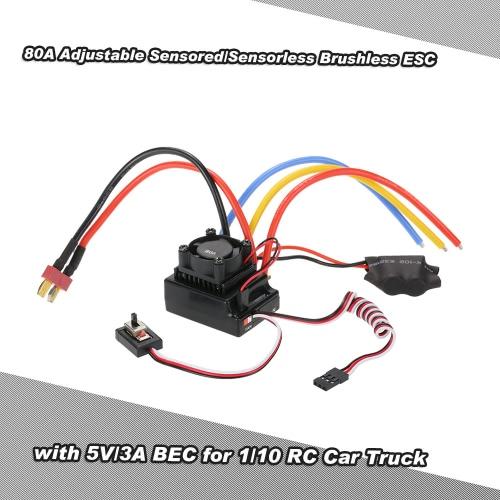 Buy 80A Adjustable Sensored/Sensorless Brushless ESC Electric Speed Controller 5V/3A BEC 1/10 RC Car Truck