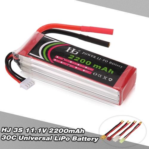 Buy HJ 11.1V 3S 2200mAh 30C Universal LiPo Battery XT60 T Plug TAMIYA Mini FPV Racing Quadcopter RC Car Boat
