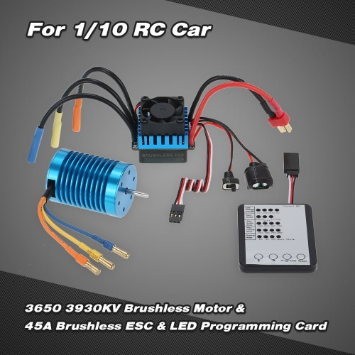 Buy 3650 3930KV/4P Brushless Motor & 45A ESC LED Programming Card Combo Set 1/10 RC Car