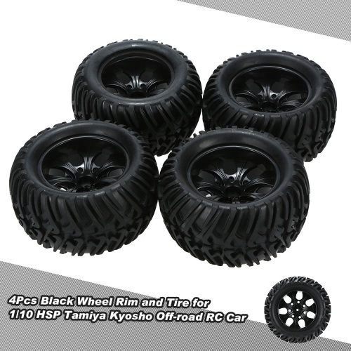 Buy Black Wheel Rim Tire 1/10 HSP Tamiya Kyosho Off-road RC Car