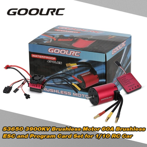Buy Original GoolRC S3650 3900KV Sensorless Brushless Motor 60A ESC Program Card Combo Set 1/10 RC Car Truck