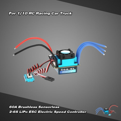 Buy 60A Brushless Sensorless 2-3S LiPo ESC Electric Speed Controller 1/10 RC Racing Car Truck