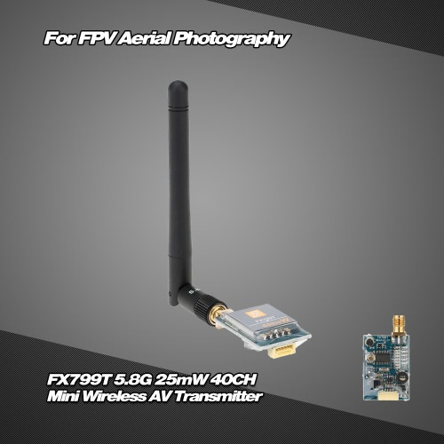 Buy FX799T-L 5.8G 25mW 40CH Mini Wireless AV Transmitter 5V Output FPV Aerial Photography