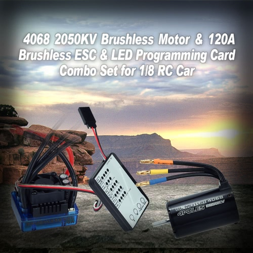 Buy 4068 2050KV Brushless Motor & 120A ESC LED Programming Card Combo Set 1/8 RC Car