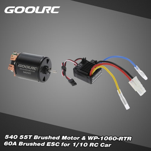 Buy GoolRC 540 55T 4 Poles Brushed Motor WP-1060-RTR 60A Waterproof ESC Electronic Speed Controller 5V/2A BEC 1/10 RC Car