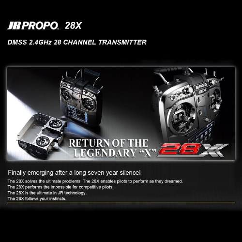 Origianal JR PROPO 28X 2.4GHz 28 Channel DMSS Transmitter Mode 2 with TX Case & RG712BX 7CH Receiver X.BUS System for RC Quadcopter Multicopter Helicopter Glider от Tomtop.com INT