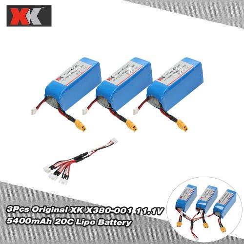 3Pcs Original XK X380-001 11.1V 5400mAh 20C Lipo Battery for XK Detect X380 X380-A X380-B X380-C RC Quadcopter от Tomtop.com INT