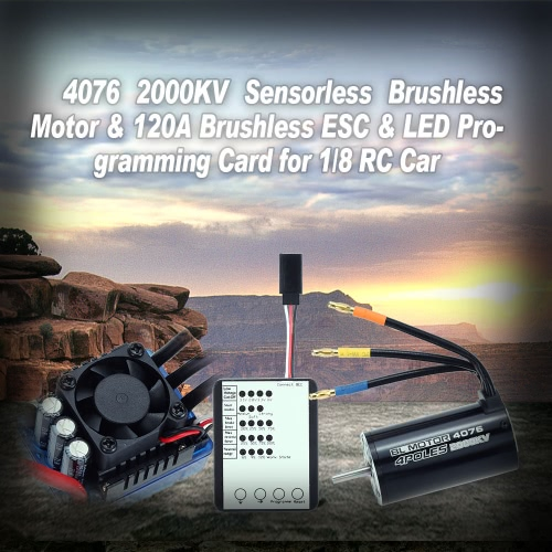 Buy 4076 2000KV Sensorless Brushless Motor & 120A ESC LED Programming Card 1/8 RC Car