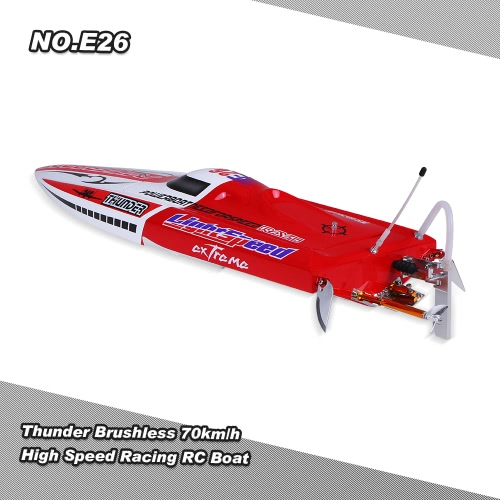 Buy Original NO.E26 Thunder Brushless 70km/h High Speed Racing RC Boat PNP Version Servo ESC Motor
