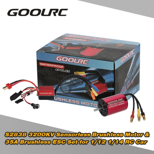 Original GoolRC S2838 3200KV Sensorless Brushless Motor 35A ESC Combo Set 1/12 1/14 RC Car Truck