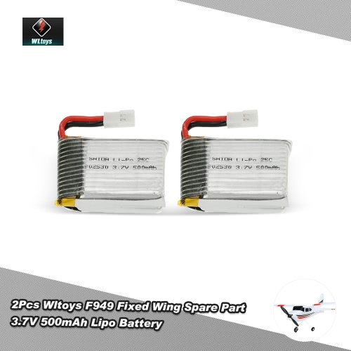 Original 2Pcs Wltoys RC Aircraft Spare Part F949 3.7V 500mAh Battery for Wltoys F949 Fixed Wing RC Aircraft от Tomtop.com INT
