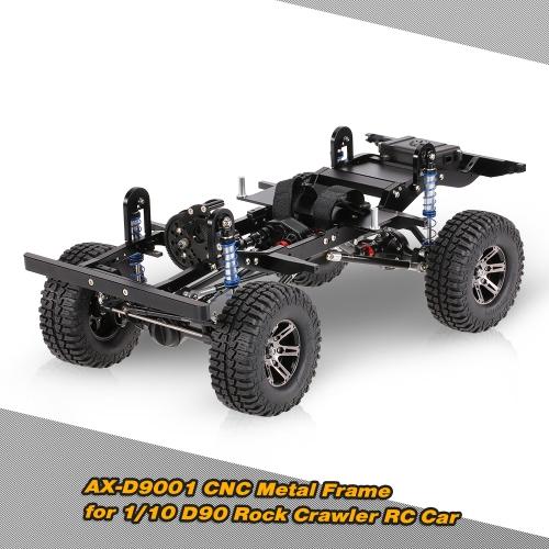 Buy AX-D9001 metal CNC Frame 1/10 D90 Rock Crawler RC Car KIT Version Transfer Case Differential Gear Box Receiver Hide Electronics