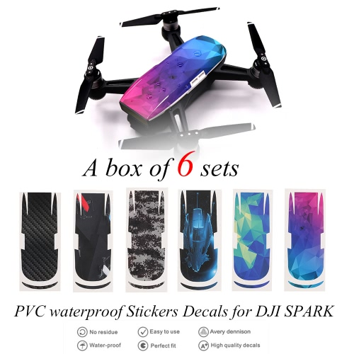Buy FPV Drone Protective Luxury Carbon Fiber Sticker Skin Cover Waterproof DJI Spark RC