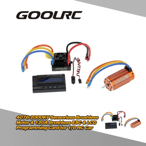 Buy GoolRC 4076 2000KV Sensorless Brushless Motor & 120A ESC 6V/3A Switch Mode BEC LCD Programming Card Combo Set 1/8 RC Car