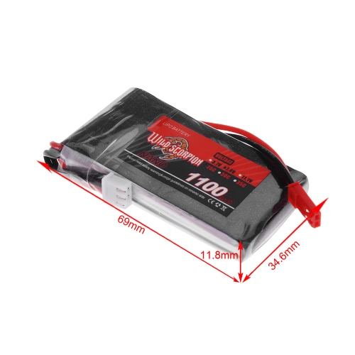 Wild Scorpion 7.4V 1100mAh 25C MAX 35C 2S JST Plug Li-po Battery for RC Car Airplane Blade CX Helicopter Part от Tomtop.com INT