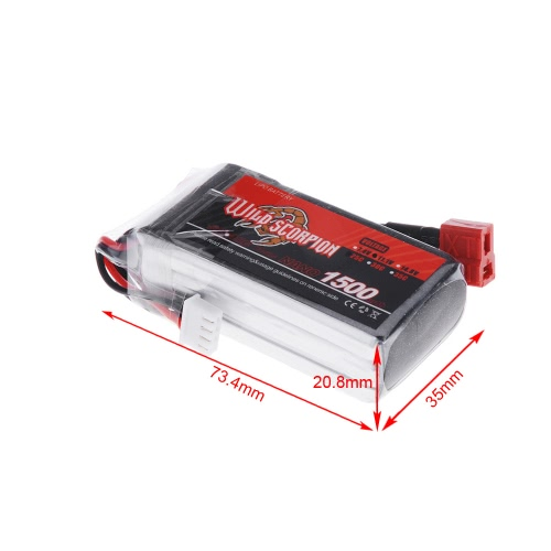Wild Scorpion 11.1V 1500mAh 25C MAX 35C 3S T Plug Li-po Battery for RC Car Airplane Helicopter Part от Tomtop.com INT