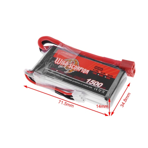 Wild Scorpion 7.4V 1500mAh 25C MAX 35C 2S T Plug Li-po Battery for RC Car Airplane Helicopter Part от Tomtop.com INT