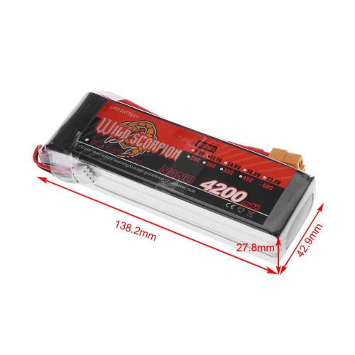 Wild Scorpion 11.1V 4200mAh 60C MAX 70C 3S XT60 Plug Li-po Battery for RC Car Airplane Helicopter Part от Tomtop.com INT