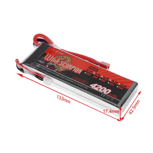 Wild Scorpion 7.4V 4200mAh 30C MAX 40C 2S T Plug Li-po Battery for RC Car Airplane Helicopter Part от Tomtop.com INT