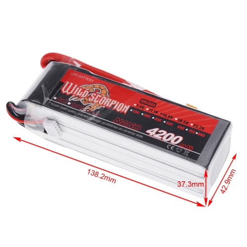 Wild Scorpion 14.8V 4200mAh 60C MAX 70C 4S XT60 Plug Li-po Battery for RC Car Airplane Helicopter Part от Tomtop.com INT