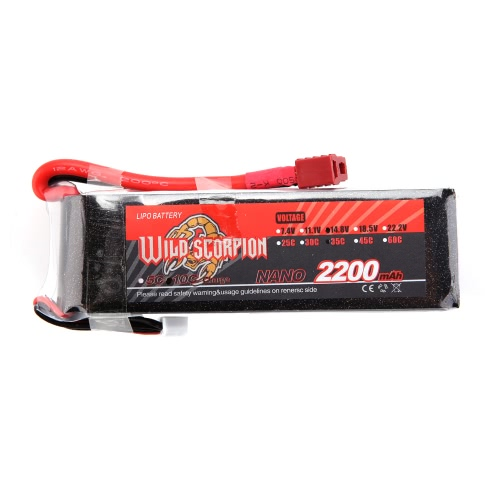 Wild Scorpion 14.8V 2200mAh 35C MAX 45C 4S T Plug Li-po Battery for RC Car Airplane Helicopter Part от Tomtop.com INT