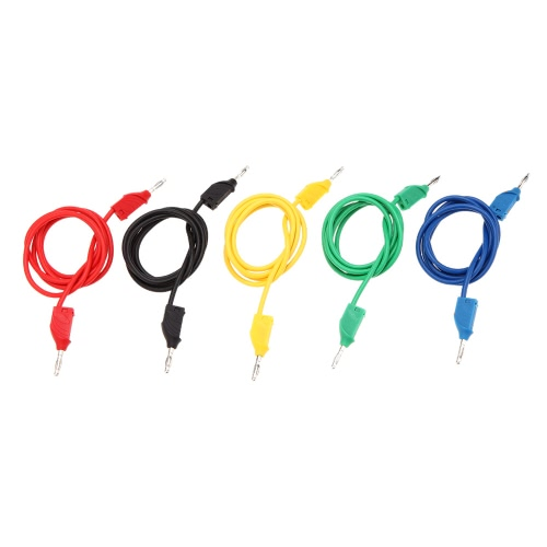 GoolRC Universial 5 Colors Closed Anti-static 3mm Jack Male Banana Clip to Jack Male Banana Clip 1m Silicone Test Supportive Cable от Tomtop.com INT