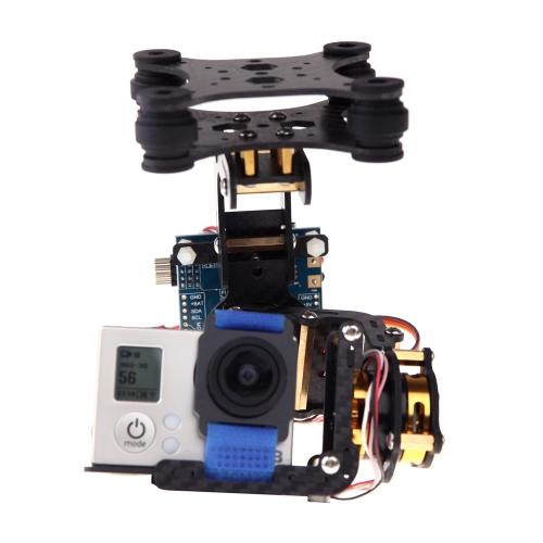 Buy FPV Gopro Hero 3 2D 2-Axis Carbon Fiber Brushless Camera Gimbal 2 Motors & Controller Board PTZ DJI Phantom F450 Qudcopter multirotor (Gopro Gimbal,DJI Gimbal,2D )