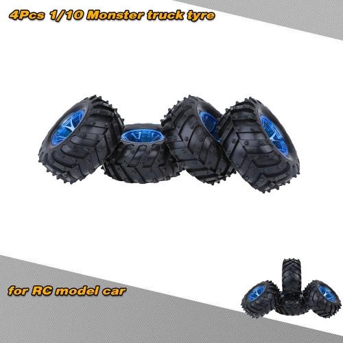 Buy 4Pcs/Set 1/10 Monster Truck Tire Tyres Traxxas HSP Tamiya HPI Kyosho RC Model Car