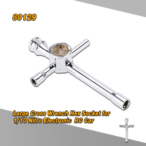 80129 5.5mm 7mm 8mm 10mm 17mm Large Cross Wrench Hex Socket Repairing Tools Maintenance Tools for 1/10 Nitro Electronic Powered HSP Off-road Truck Buggy On-road Car