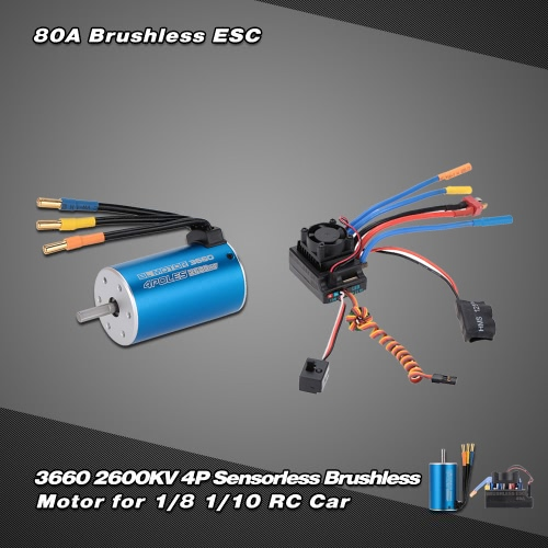 Buy 3660 2600KV 4P Sensorless Brushless Motor & 80A Splash-Proof Electronic Speed Controller ESC 5.3V/5A Switch Mode BEC 1/8 1/10 RC Car