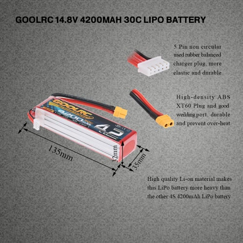 Buy GoolRC 4S 14.8V 4200mAh 30C LiPo Battery XT60 Plug RC Car Boat Truck