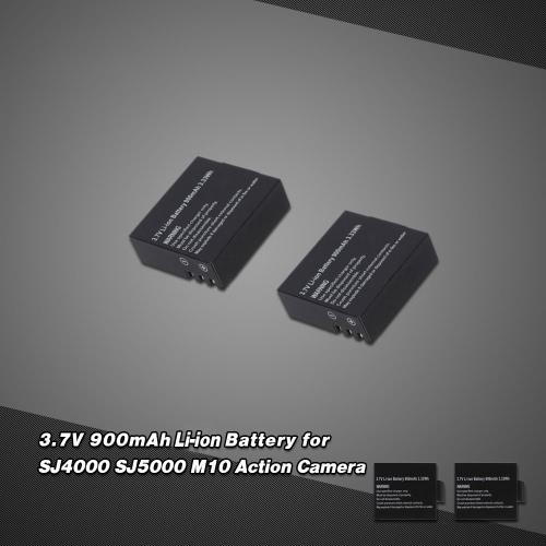 2Pcs 3.7V 900mAh Li-ion Battery Replacement Battery for SJ4000 SJ5000 M10 RC FPV Action Camera