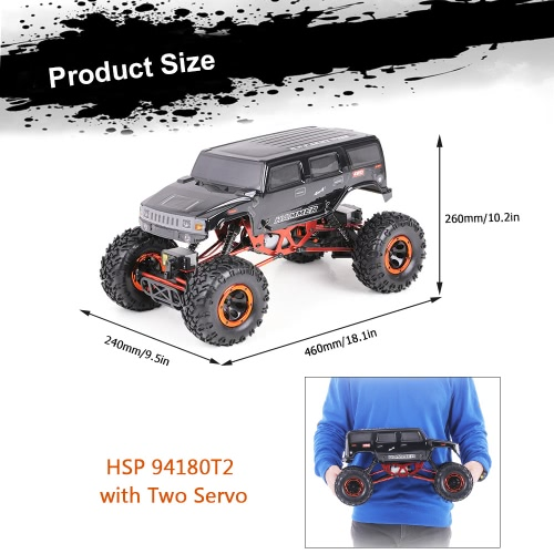 Buy Original HSP 94180T2 1/10 2.4Ghz 3CH 4WD Eletronic Powered Brushed Motor RTR Rock Crawler RC Car Two Servo