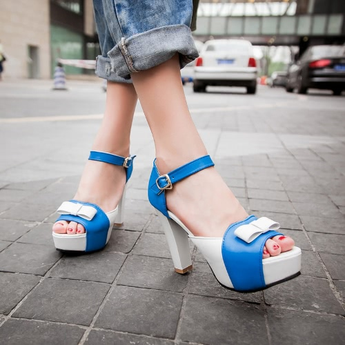 Buy Fashion Women Sandals Pumps Peep Toe High Block Heel Platform Bow Elegant Heels Green/Blue/Red