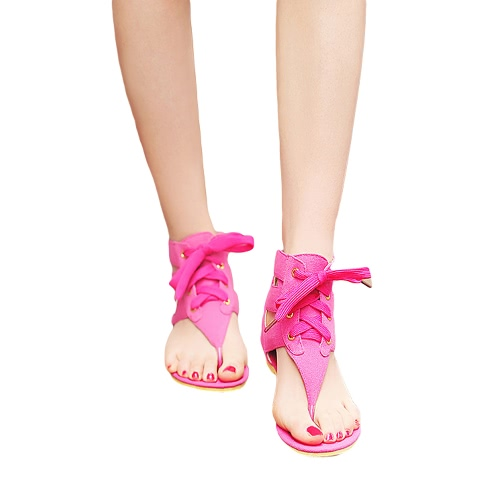Buy Fashion Women Flat Sandals Candy Color Lace Ankle Wrap Zipper Flip Flop Summer Casual Shoes