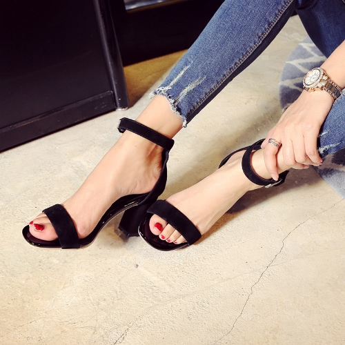 Buy Summer Fashion Women Sandals Open Toe Ankle Strap Suede Leather High Thick Heels Pumps Shoes Black/Burgundy