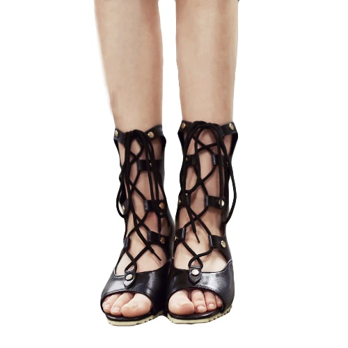 Buy Fashion Women Wedge Sandals Lace Open Toe Strappy Gladiator Pointed Shoes Pumps Booties