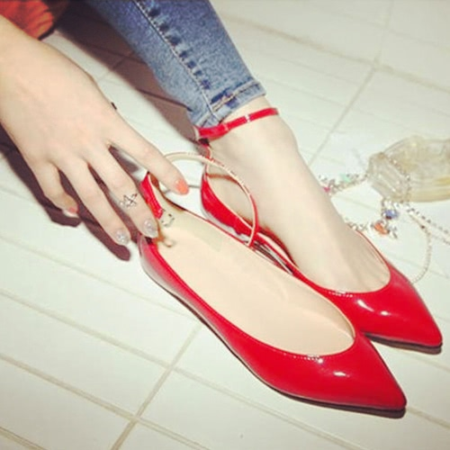 Buy Fashion Summer Women Flat Shoes Pointed Toe Pin Buckle Solid Color Flats Point