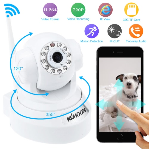 Buy KKmoonu00ae HD 720P Megapixels Wireless WiFi Pan Tilt Network IP Cloud Indoor Camera Baby Monitor support PTZ TF Card Record 2-way Talk P2P Android/iOS APP IR-CUT Filter Infrared Night View Motion Detection Email Alarm Browser CCTV Surveillance Security System