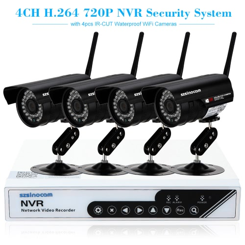 szsinocam 4CH HD 720P H.264 NVR Kit with 4pcs IP Camera,limited offer $82.99