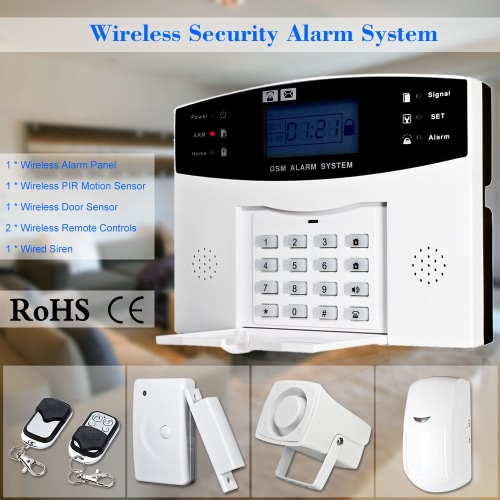 Buy Wireless GSM SMS Home Burglar Security Alarm System Detector Sensor Kit Remote Control 433MHz