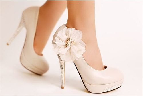Buy Fashion Women Pumps Flower High Heels Platform Slole Stiletto Heel Court Shoes Beige