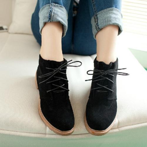 Buy Vintage Women Ankle Boots Lace Flat Heel Flock Shoes Black