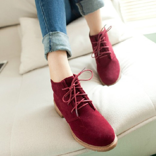 Buy Vintage Women Ankle Boots Lace Flat Heel Flock Shoes Burgundy