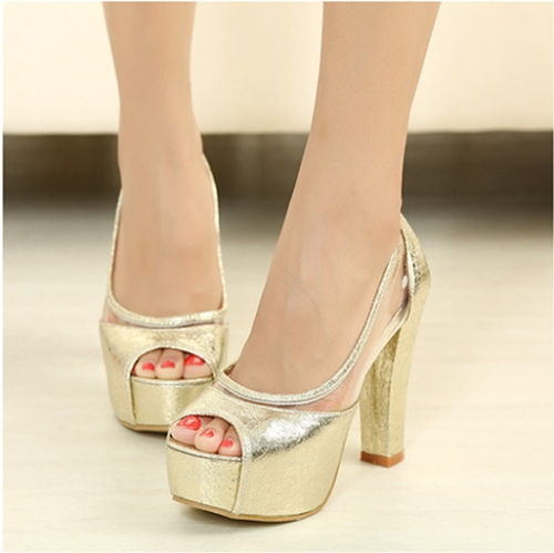 Buy Fashion Women Summer High Heels Peep Toe Platform Sole Thin Shoes Pumps Golden