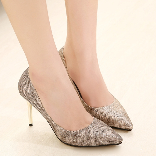 Buy Fashion Women High Heels Pointed Toe Glittering Stilettos Shoes Party Pumps Golden