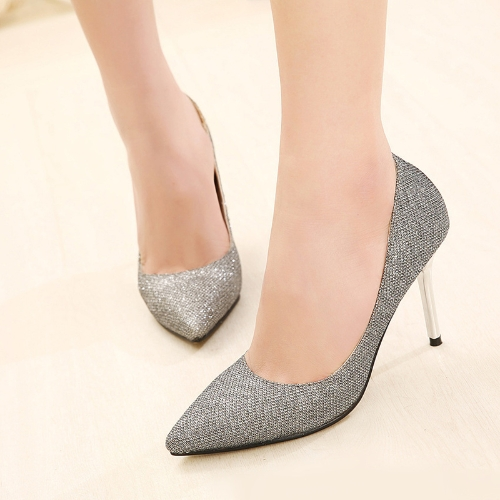Buy Fashion Women High Heels Pointed Toe Glittering Stilettos Shoes Party Pumps Silver