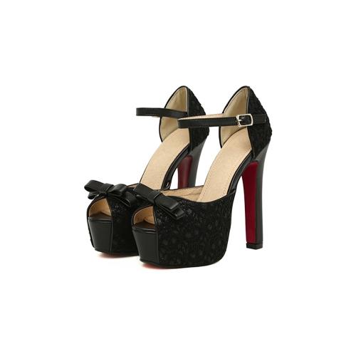 Buy Fashion Women Sandals Lace Bow Peep Toe High Square Heel Ankle Strap Platform Sole Pumps Shoes Beige/Black