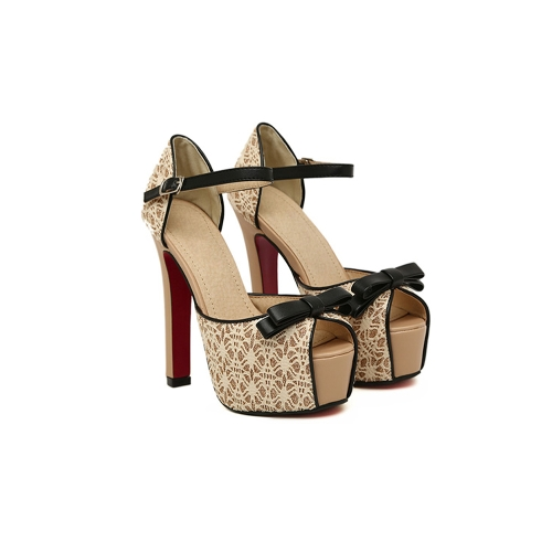 Fashion Women Sandals Lace Bow Peep Toe High Square Heel Ankle Strap Platform Sole Pumps Shoes Beige/Black